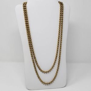 Gold Tone Metal Bead Long Strand Necklace Vintage